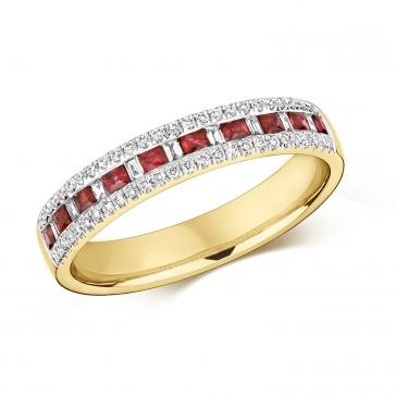 Ruby & Diamond Half Eternity Ring 0.55ct, 9k Gold