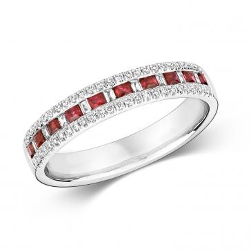 Ruby & Diamond Half Eternity Ring 0.55ct, 9k White Gold