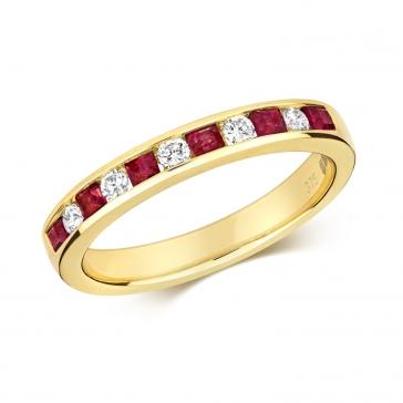 Ruby & Diamond Half Eternity Ring 0.58ct, 9k Gold
