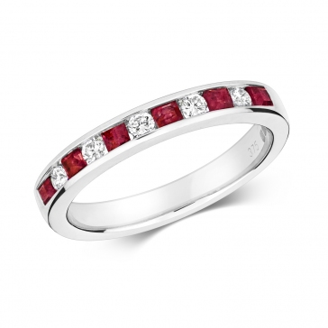 Ruby & Diamond Half Eternity Ring 0.58ct, 9k White Gold