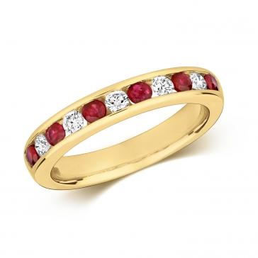 Ruby & Diamond Half Eternity Ring 0.69ct, 9k Gold