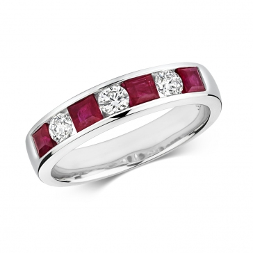 Ruby & Diamond Half Eternity Ring 1.19ct, 9k White Gold