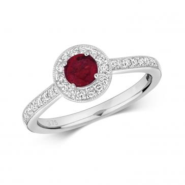 Ruby & Diamond Halo Ring 0.74ct. 9k White Gold