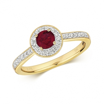 Ruby & Diamond Halo Ring 0.74ct, 9k Gold