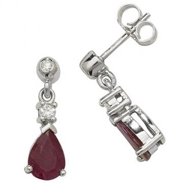Ruby & Diamond Pear Drop Earrings, 9k White Gold