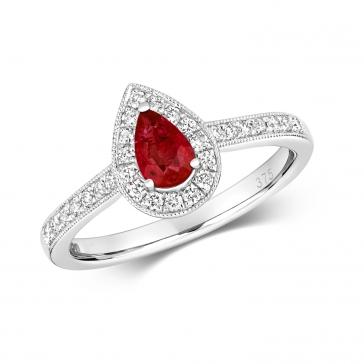Ruby & Diamond Pear Shape Ring, 9k White Gold