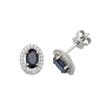 Sapphire & Diamond Oval Halo Earrings, 9k White Gold