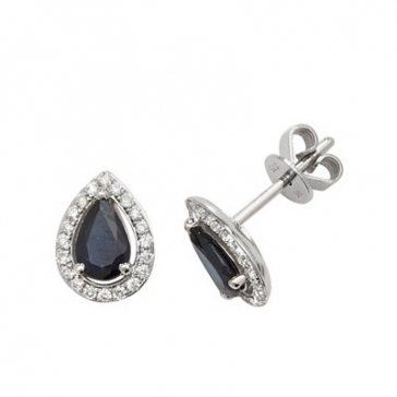 Sapphire & Diamond Pear Cut Earrings, 9k White Gold