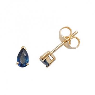 Blue Sapphire Pear Stud Earrings Claw Set, 9k Gold