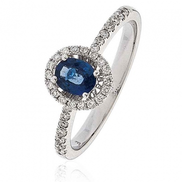 Sapphire & Diamond Oval Cut Ring 0.70ct, 18k White Gold