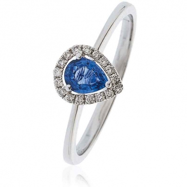 Sapphire Ring With Diamond Pear Surround 0.50ct, 18k White Gold
