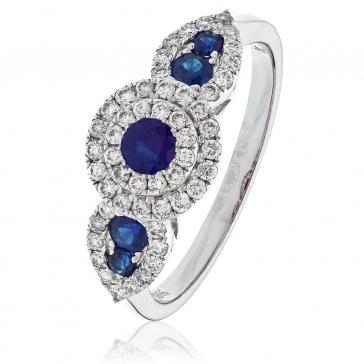 Sapphire & Diamond Dress Ring 0.80ct, 18k White Gold