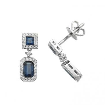 Sapphire & Diamond Drop Earrings 1.31ct, 9k White Gold