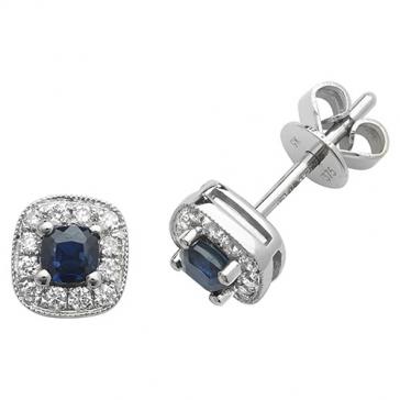 Sapphire & Diamond Earrings 0.50ct, 9k White Gold