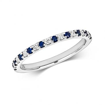 Sapphire & Diamond Half Eternity Ring 0.30ct, 9k White Gold