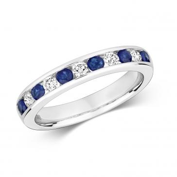 Sapphire & Diamond Half Eternity Ring 0.66ct, 9k White Gold