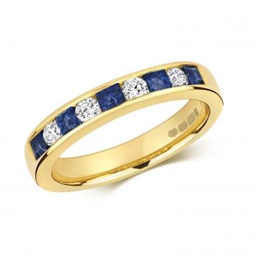 Sapphire & Diamond Half Eternity Ring 0.85ct, 9k Gold