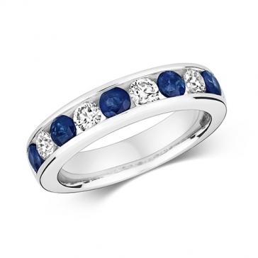 Sapphire & Diamond Half Eternity Ring 1.45ct, 9k White Gold