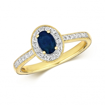 Sapphire & Diamond Oval Ring 0.77ct, 9k Gold