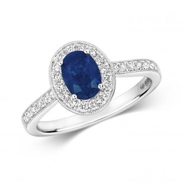 Sapphire & Diamond Oval Ring 1.33ct, 9k White Gold