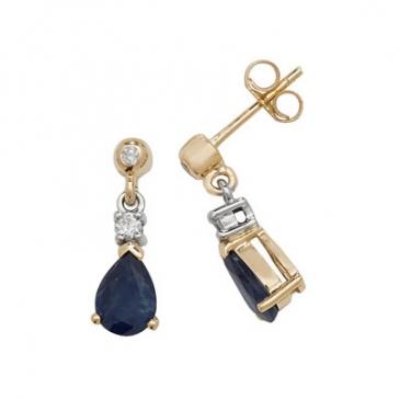 Sapphire & Diamond Pear Drop Earrings, 9k Gold