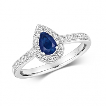 Sapphire & Diamond Pear Shape Ring, 9k White Gold