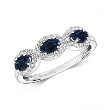 Sapphire & Diamond Trilogy Ring 1.25ct, White Gold