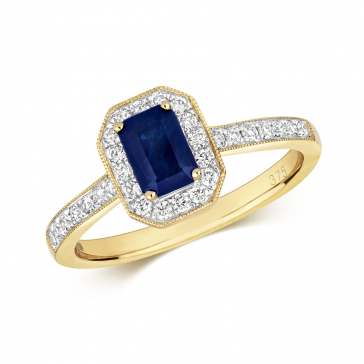 Sapphire Ring with Diamond surround, 1.01ct, 9k Gold