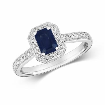 Sapphire Ring with Diamond Surround. 1.01ct, 9k White Gold