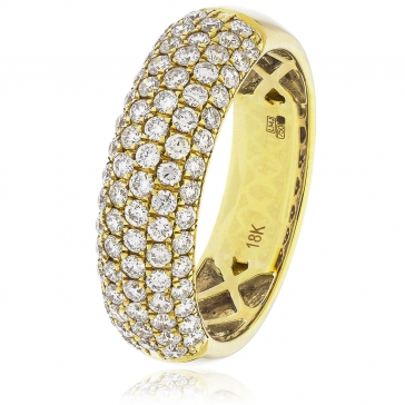 Diamond Pave Half Eternity Ring 1.00ct, 18k Gold