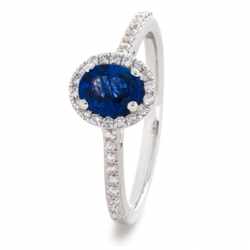 Oval Sapphire Ring With Diamond Halo 1.30ct, 18k White Gold
