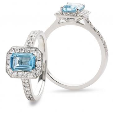 Aquamarine & Diamond Ring 1.28ct, 18k White Gold