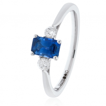 Sapphire and Diamond Ring 0.80ct, 18k White Gold
