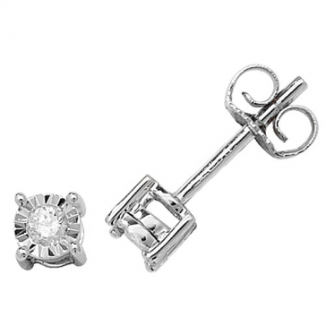Diamond Illusion Set Stud Earrings 0.10ct, 9k White Gold