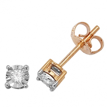 Diamond Illusion Set Stud Earrings 0.10ct, 9k Gold
