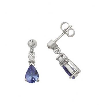 Tanzanite & Diamond Pear Drop Earrings, 9k White Gold