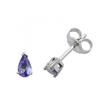 Tanzanite Pear Stud Earrings Claw Set, 9k White Gold