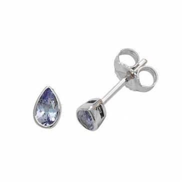 Tanzanite Pear Stud Earrings Rub-Over, 9k White Gold