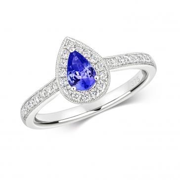 Tanzanite & Diamond Pear Shape Ring, 9k White Gold
