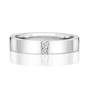 Twin Diamond Wedding Ring, 9k White Gold