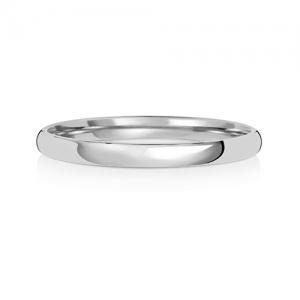 Wedding Ring Court Shape, 9k White Gold 2mm