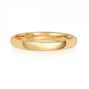 2.5mm Wedding Ring Traditional Court Shape, 18k Gold, Medium