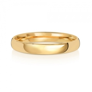 Wedding Ring Court Shape, 18k Gold 3mm