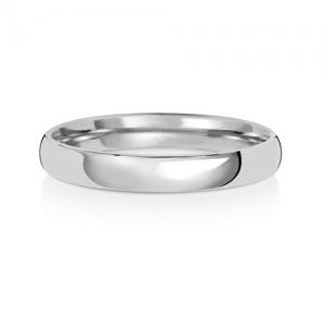 Wedding Ring Court Shape, 18k White Gold 3mm