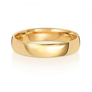Wedding Ring Court Shape, 18k Gold 4mm