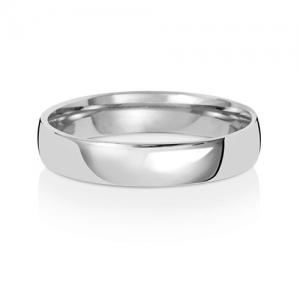 4mm Wedding Ring Traditional Court Shape, 9k White Gold, Medium