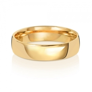 5mm Wedding Ring Traditional Court Shape, 9k Gold, Medium
