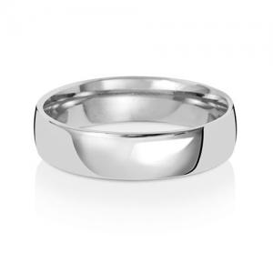 Wedding Ring Court Shape, 18k White Gold 5mm