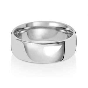 7mm Wedding Ring Traditional Court Shape, 9k White Gold, Medium