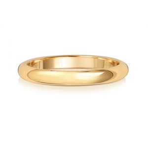 Wedding Ring D-Shape, 18k Gold 2.5mm